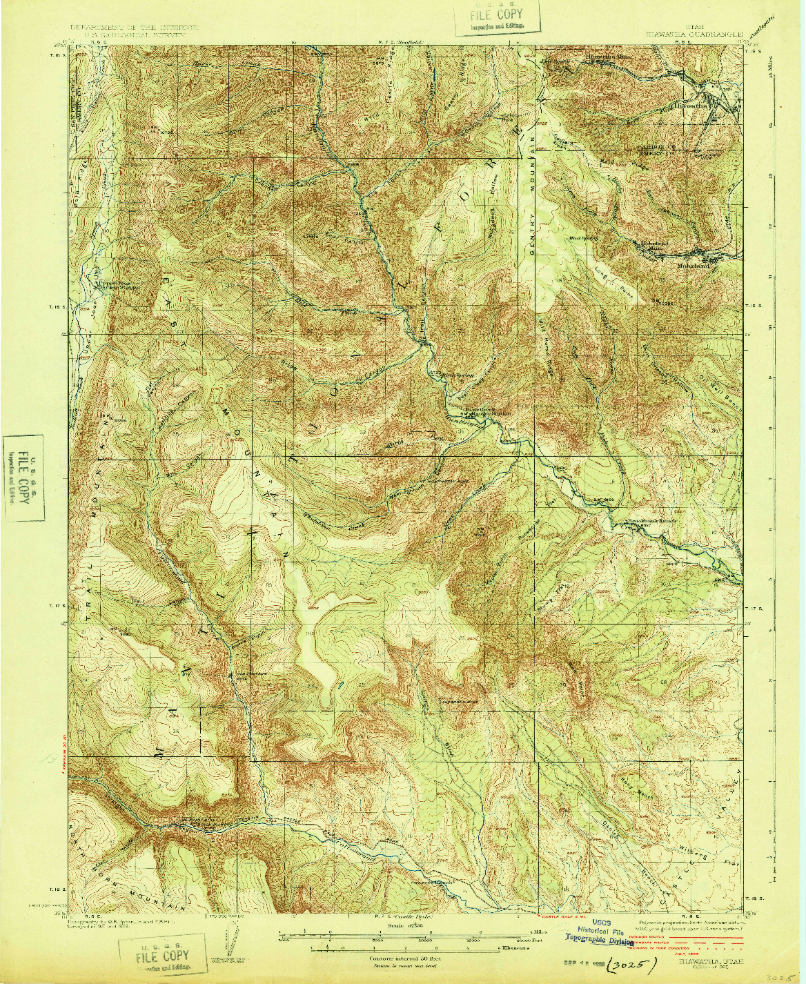 USGS 1:62500-SCALE QUADRANGLE FOR HIAWATHA, UT 1925