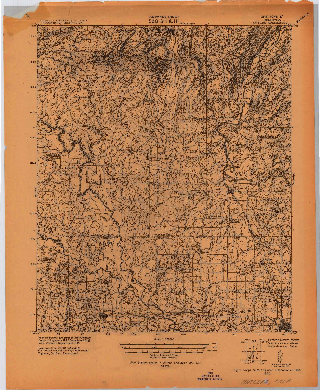 USGS 1:125000-SCALE QUADRANGLE FOR ANTLERS, OK 1925