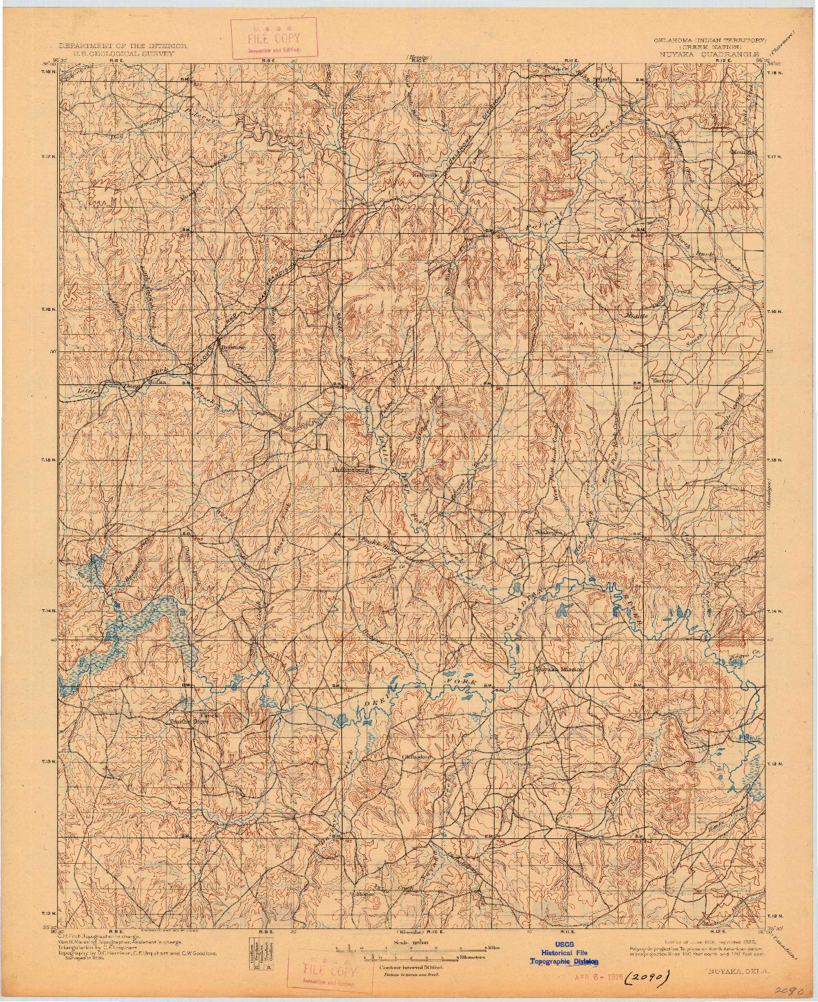 USGS 1:125000-SCALE QUADRANGLE FOR NUYAKA, OK 1901