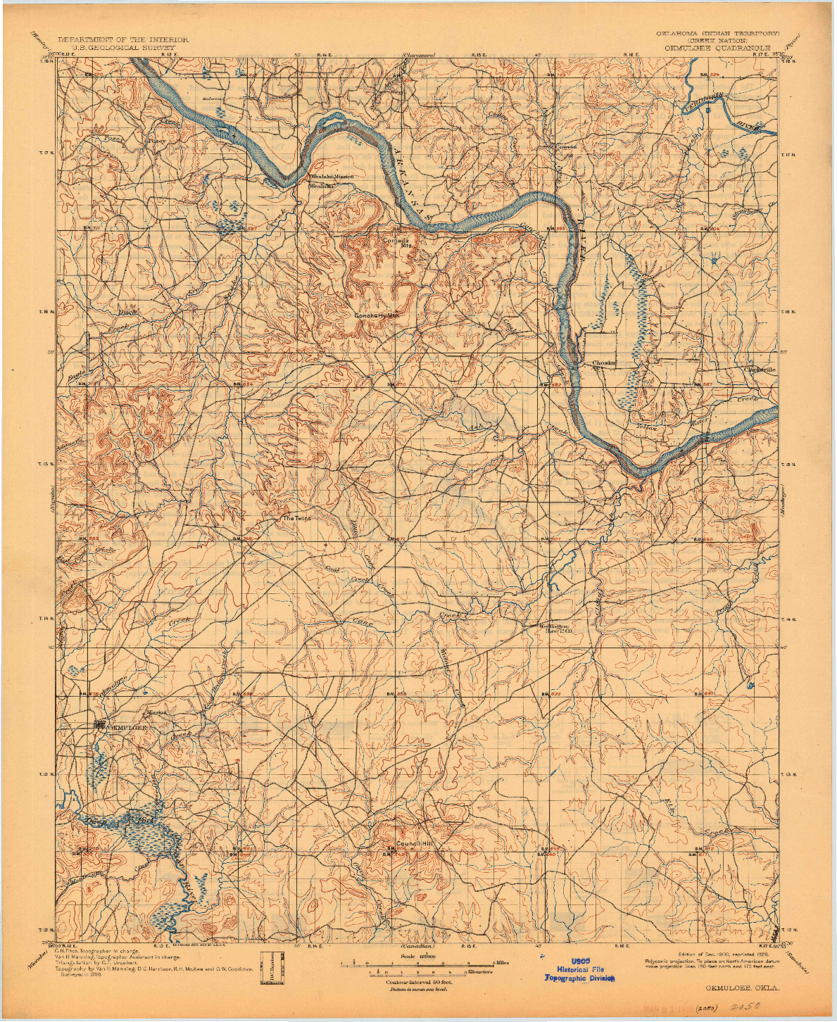 USGS 1:125000-SCALE QUADRANGLE FOR OKMULGEE, OK 1900