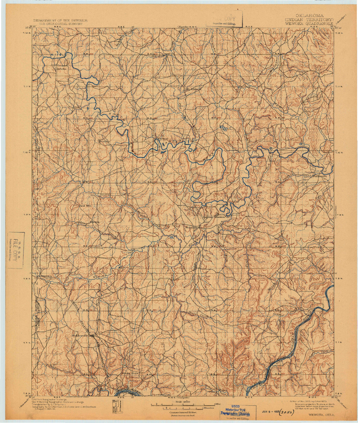 USGS 1:125000-SCALE QUADRANGLE FOR WEWOKA, OK 1900