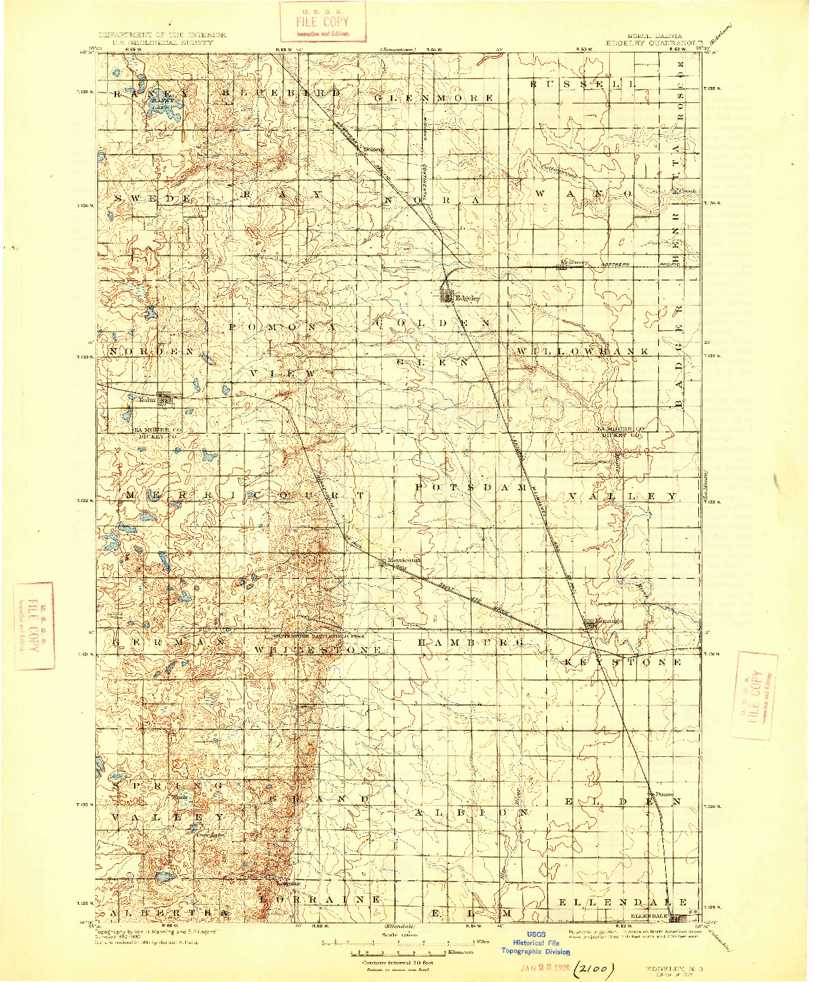 USGS 1:125000-SCALE QUADRANGLE FOR EDGELEY, ND 1925