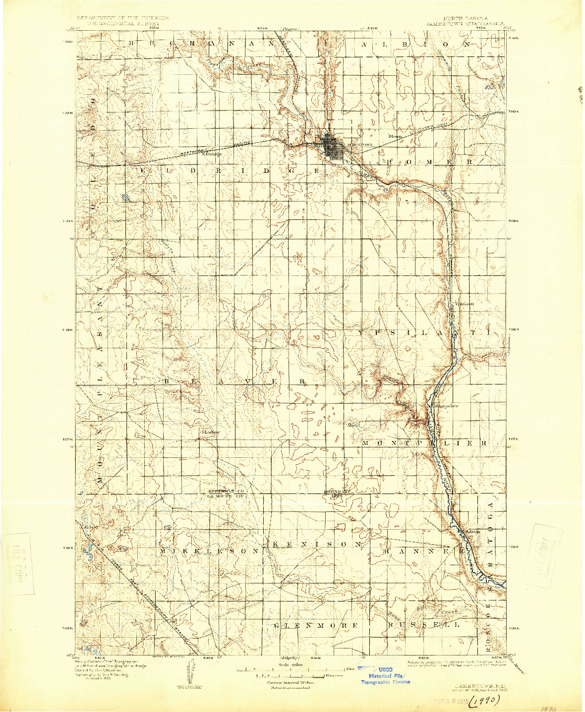 USGS 1:125000-SCALE QUADRANGLE FOR JAMESTOWN, ND 1896