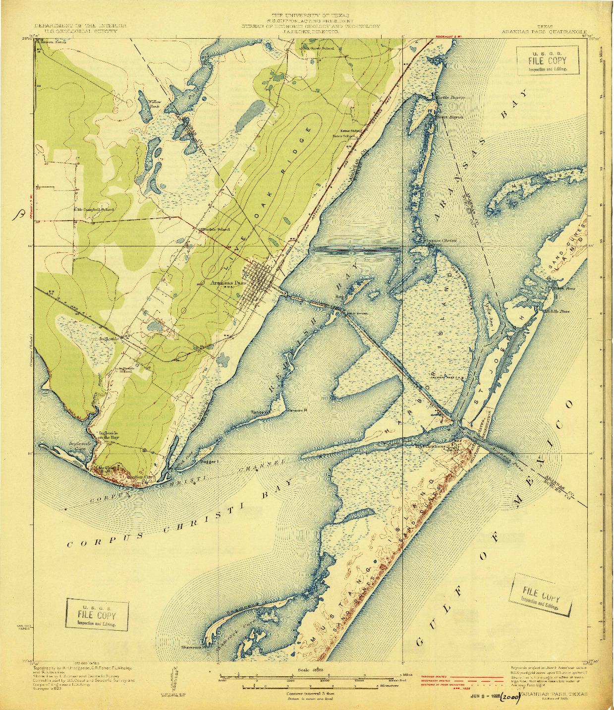 USGS 1:62500-SCALE QUADRANGLE FOR ARANSAS PASS, TX 1925