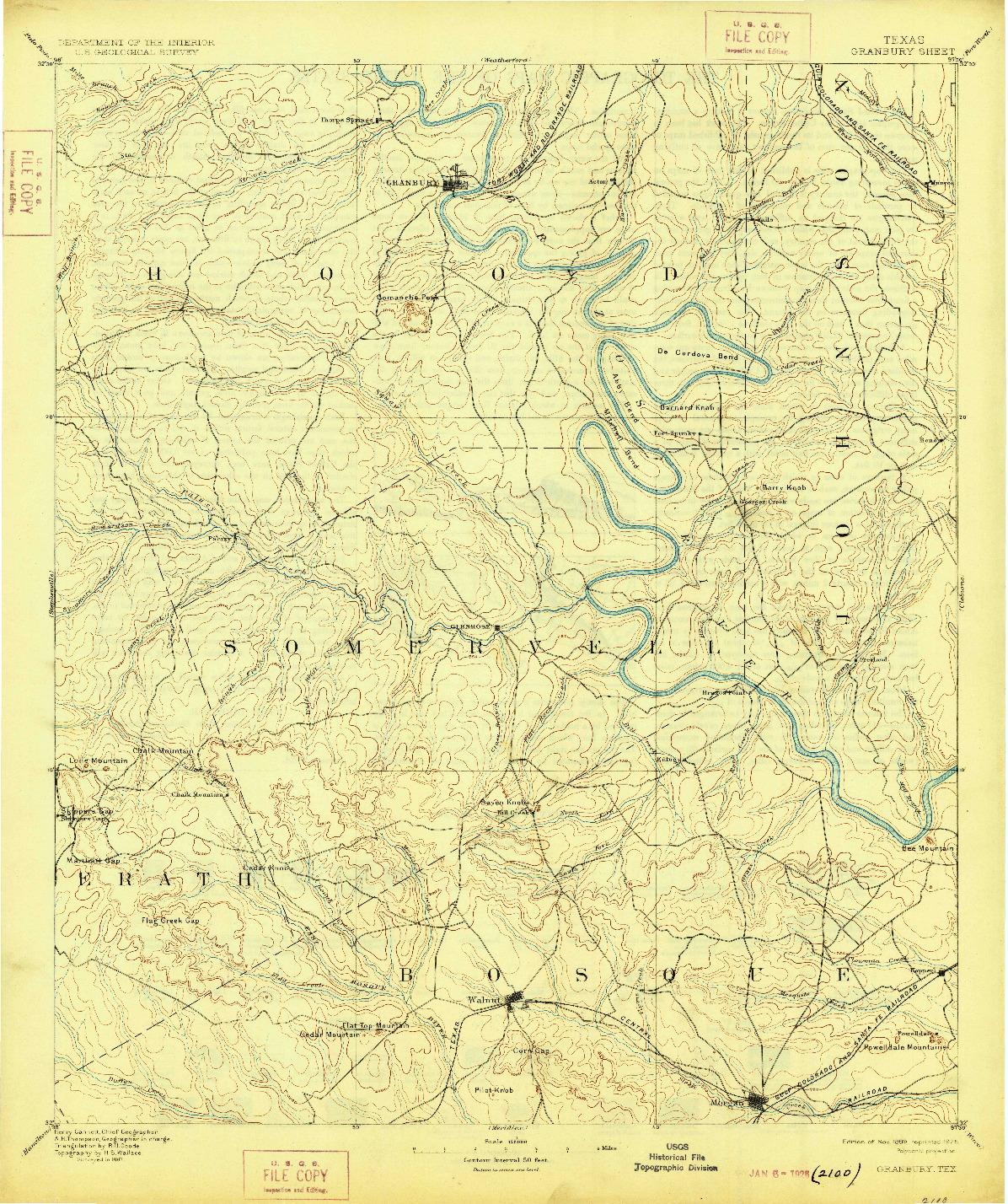 USGS 1:125000-SCALE QUADRANGLE FOR GRANBURY, TX 1889