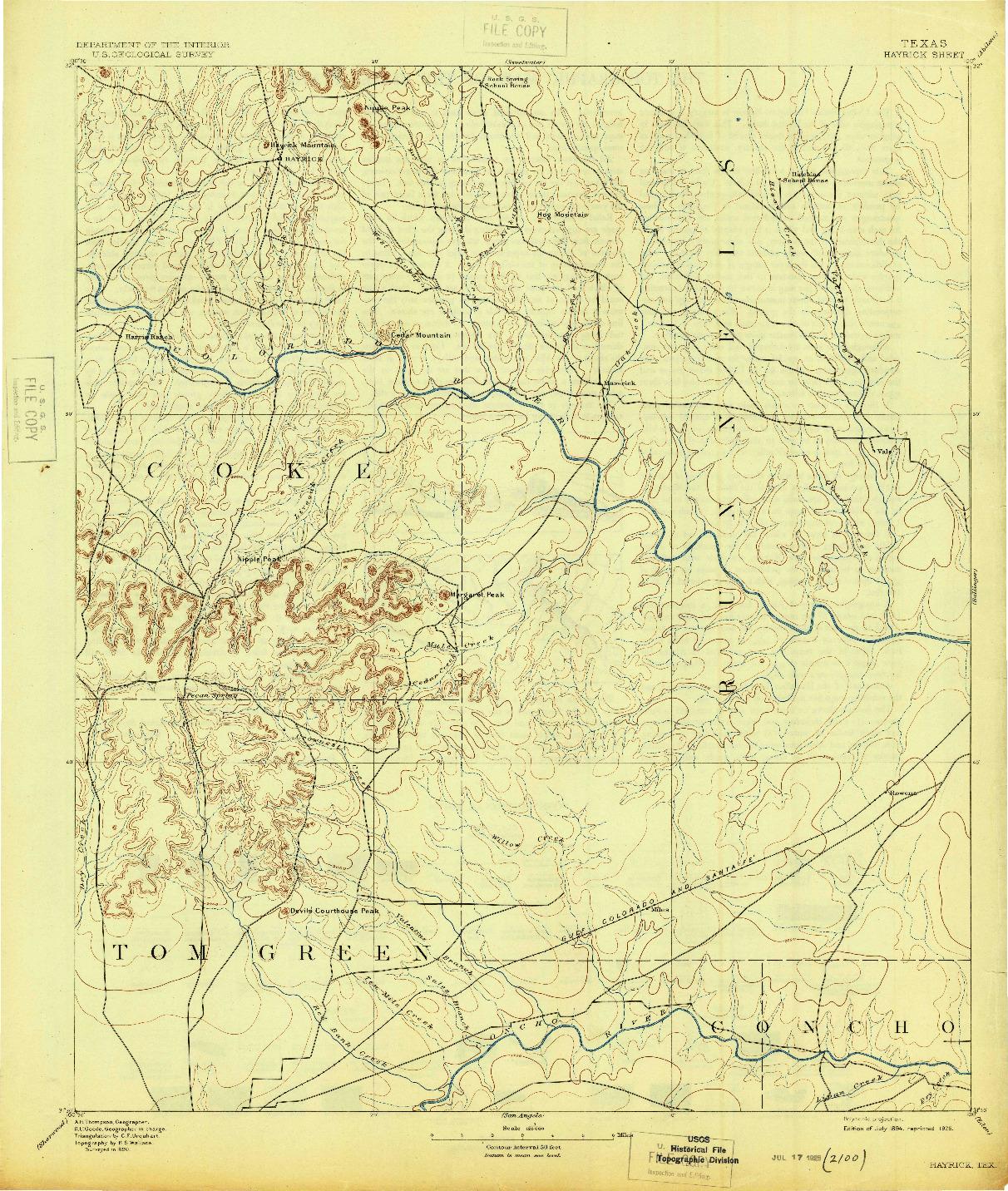 USGS 1:125000-SCALE QUADRANGLE FOR HAYRICK, TX 1894