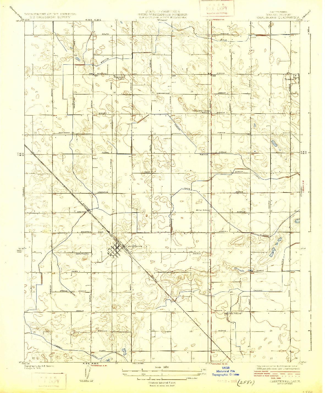 USGS 1:31680-SCALE QUADRANGLE FOR CARUTHERS, CA 1925