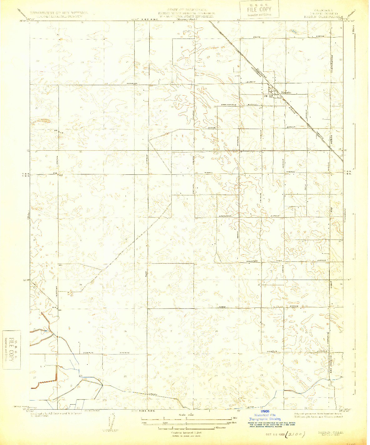 USGS 1:31680-SCALE QUADRANGLE FOR RAISIN, CA 1925