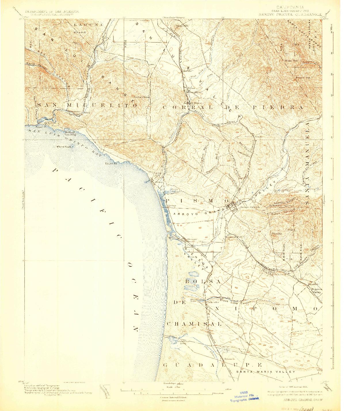 USGS 1:62500-SCALE QUADRANGLE FOR ARROYO GRANDE, CA 1897