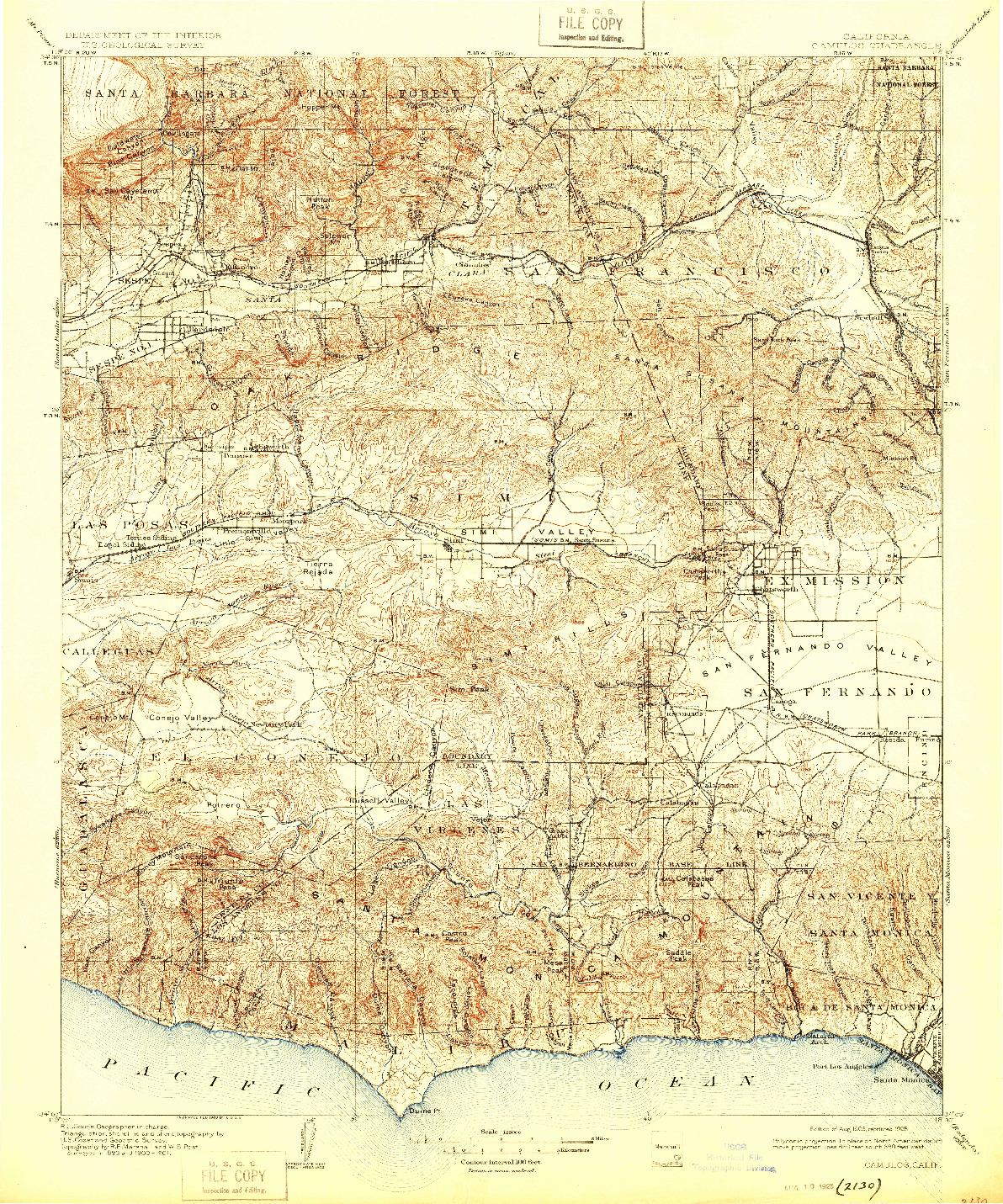 USGS 1:125000-SCALE QUADRANGLE FOR CAMULOS, CA 1903