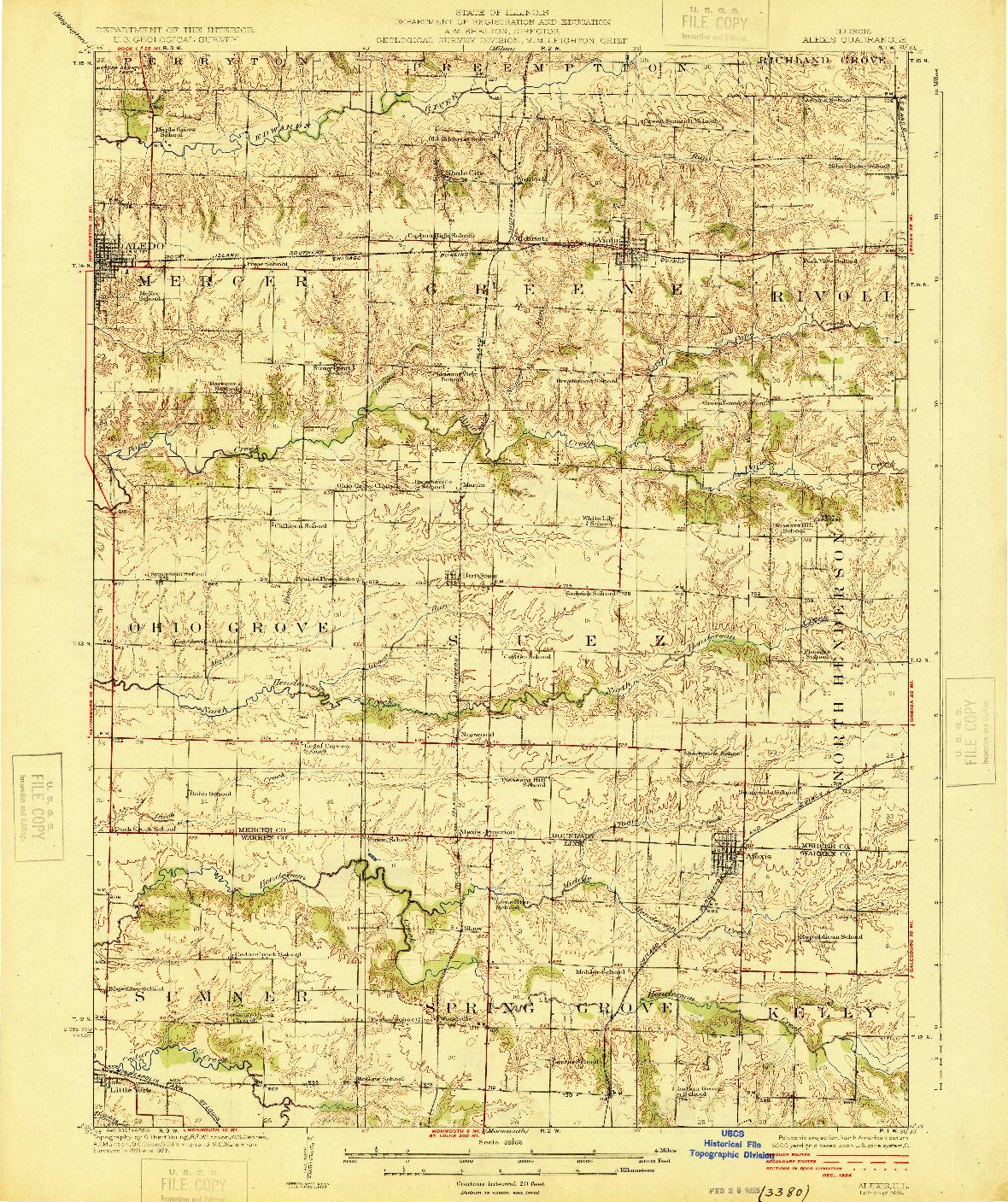 USGS 1:62500-SCALE QUADRANGLE FOR ALEXIS, IL 1925