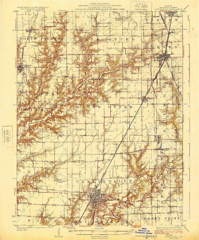 USGS 1:62500-SCALE QUADRANGLE FOR CARLINVILLE, IL 1925