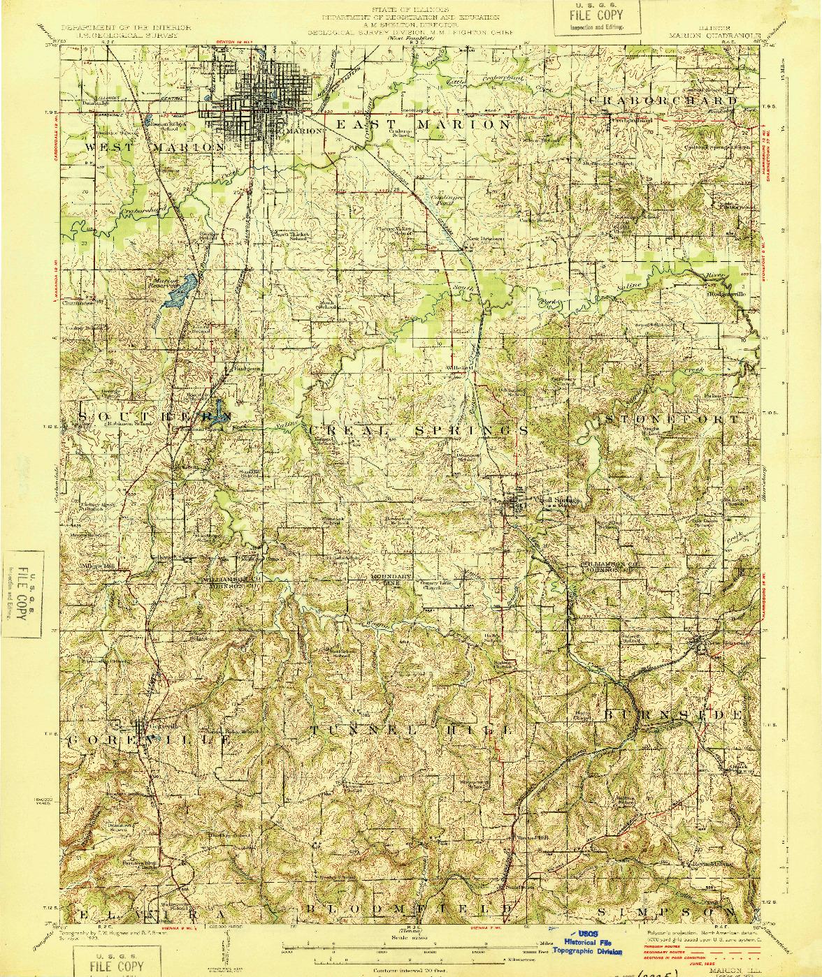 USGS 1:62500-SCALE QUADRANGLE FOR MARION, IL 1925