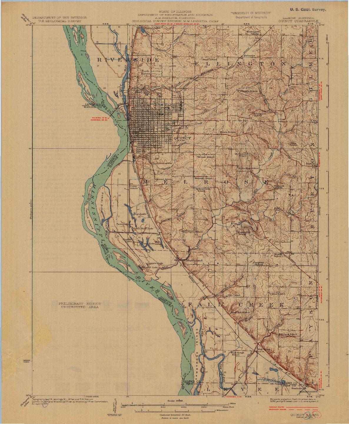 USGS 1:62500-SCALE QUADRANGLE FOR QUINCY, IL 1925