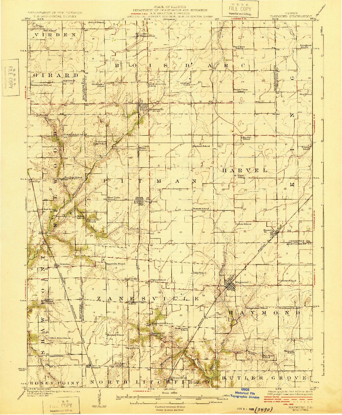 USGS 1:62500-SCALE QUADRANGLE FOR RAYMOND, IL 1925