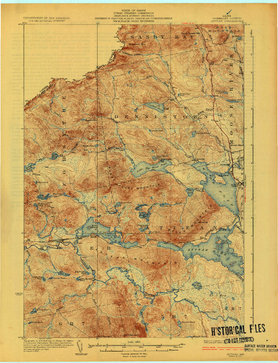 USGS 1:62500-SCALE QUADRANGLE FOR ATTEAN, ME 1925