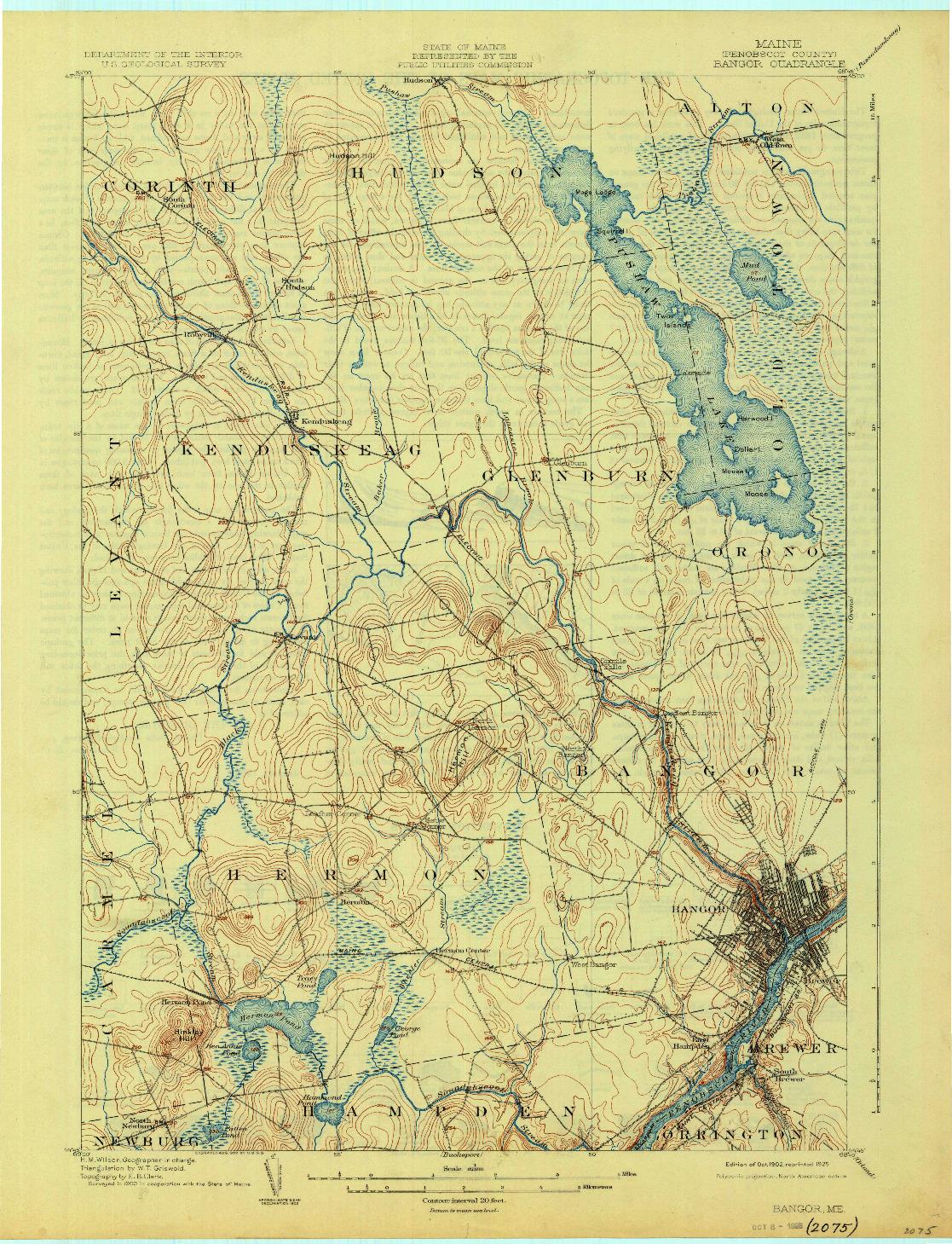 USGS 1:62500-SCALE QUADRANGLE FOR BANGOR, ME 1902