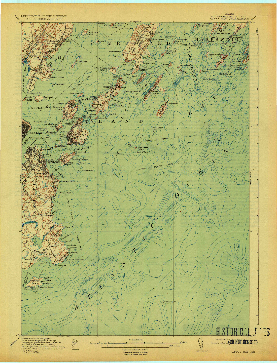 USGS 1:62500-SCALE QUADRANGLE FOR CASCO BAY, ME 1916