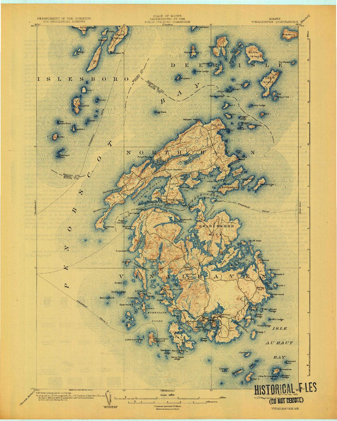USGS 1:62500-SCALE QUADRANGLE FOR VINALHAVEN, ME 1904