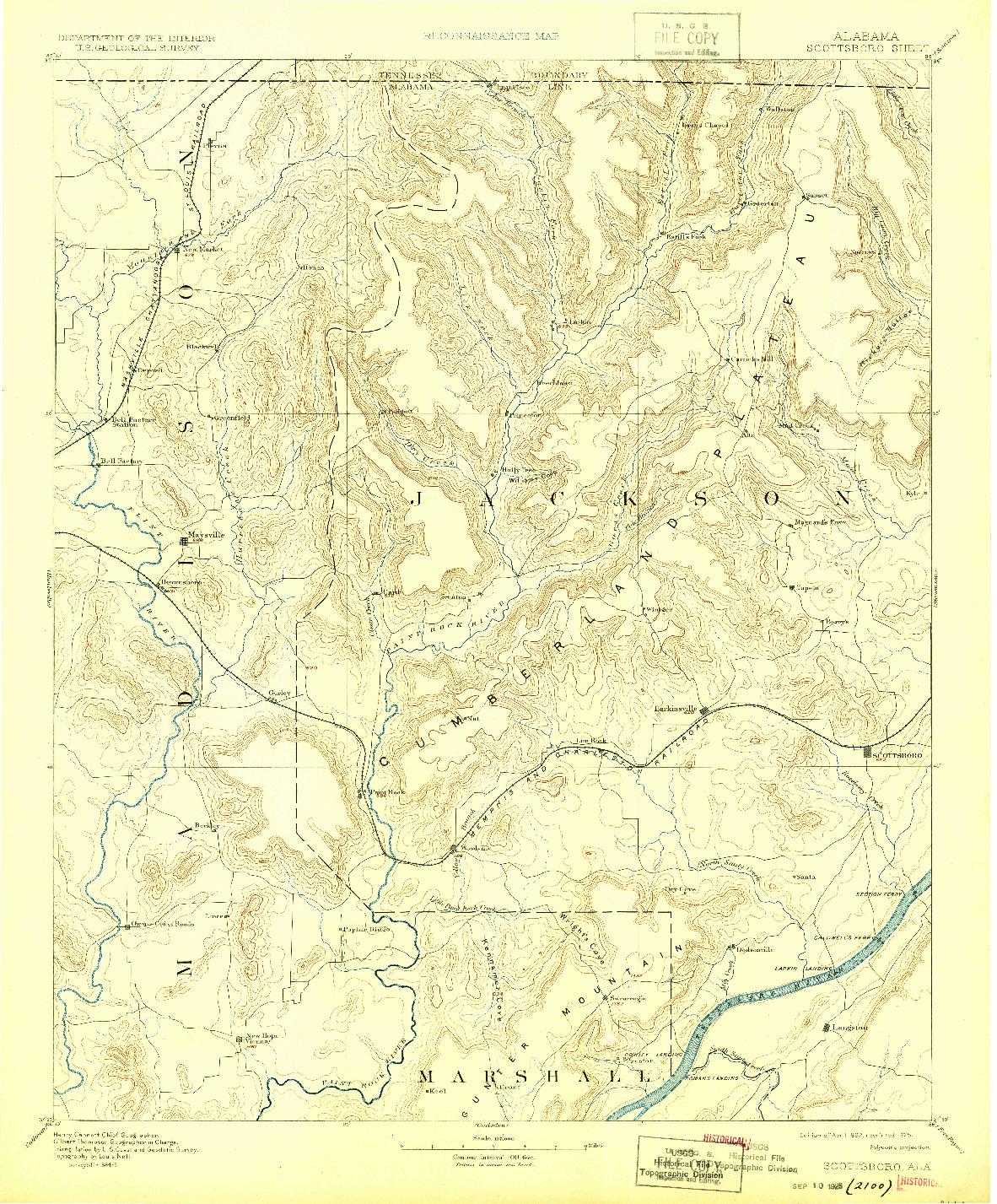 USGS 1:125000-SCALE QUADRANGLE FOR SCOTTSBORO, AL 1892