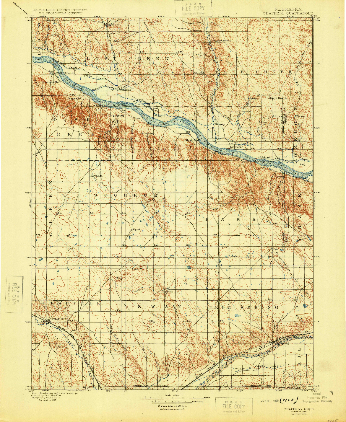 USGS 1:125000-SCALE QUADRANGLE FOR CHAPPELL, NE 1900