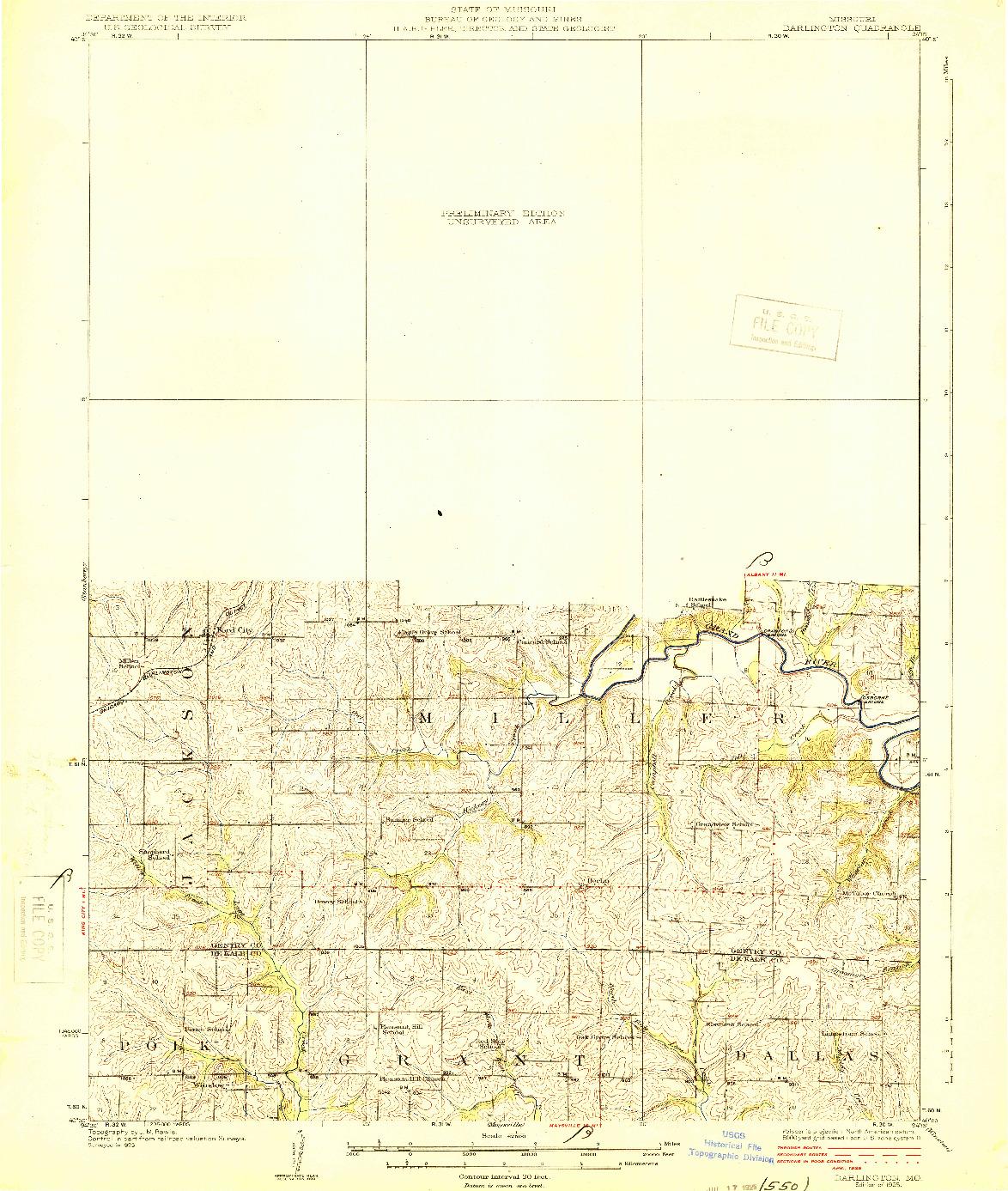 USGS 1:62500-SCALE QUADRANGLE FOR DARLINGTON, MO 1925