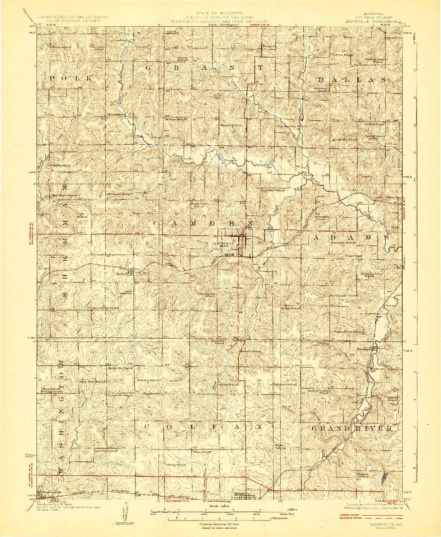 USGS 1:62500-SCALE QUADRANGLE FOR MAYSVILLE, MO 1925