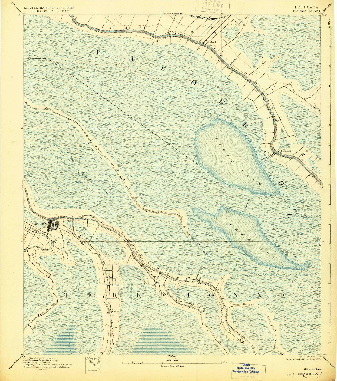 USGS 1:62500-SCALE QUADRANGLE FOR HOUMA, LA 1892