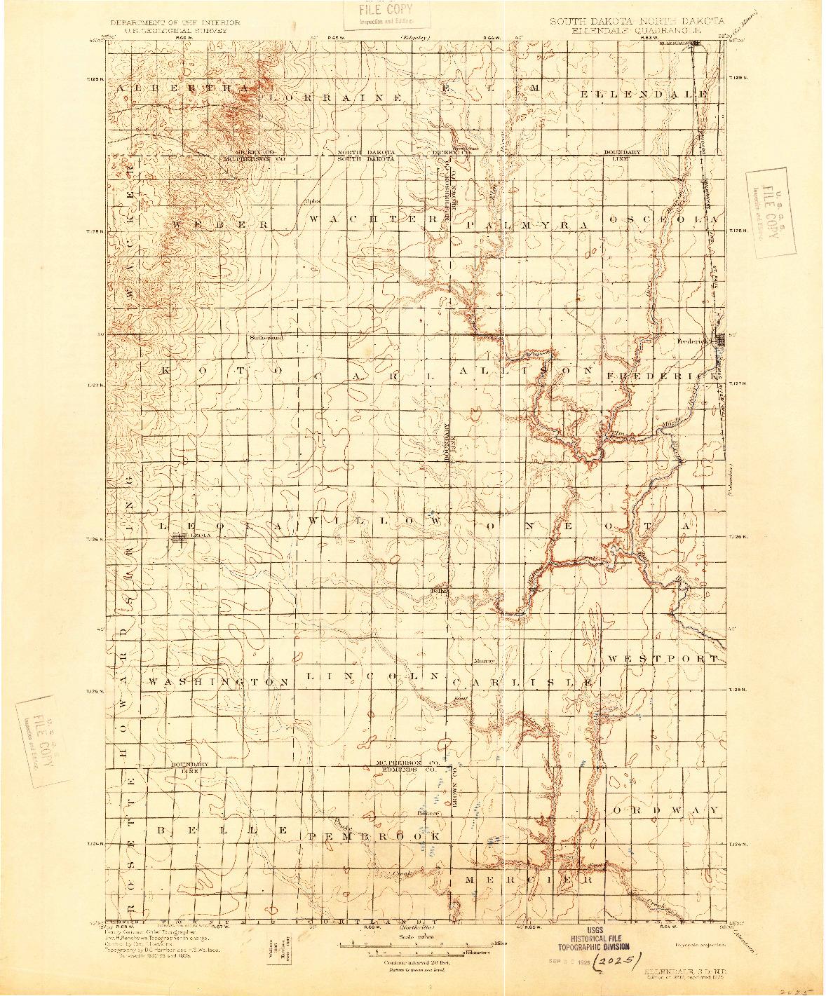 USGS 1:125000-SCALE QUADRANGLE FOR ELLENDALE, SD 1899