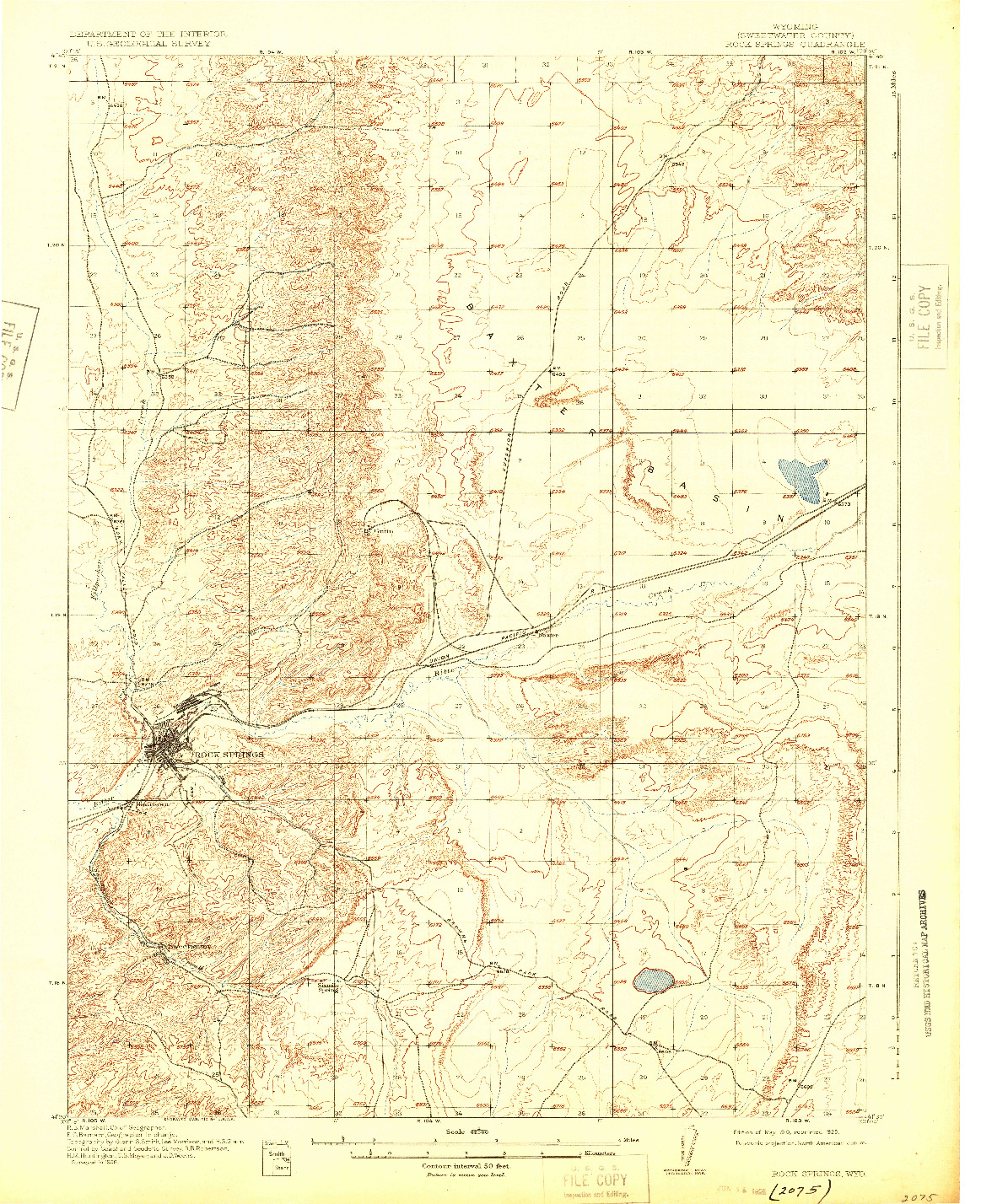 USGS 1:62500-SCALE QUADRANGLE FOR ROCK SPRINGS, WY 1910