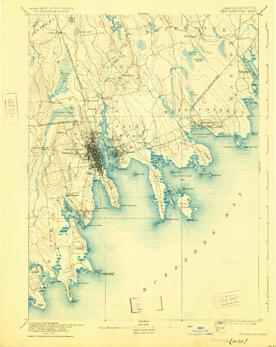 USGS 1:62500-SCALE QUADRANGLE FOR NEW BEDFORD, MA 1893