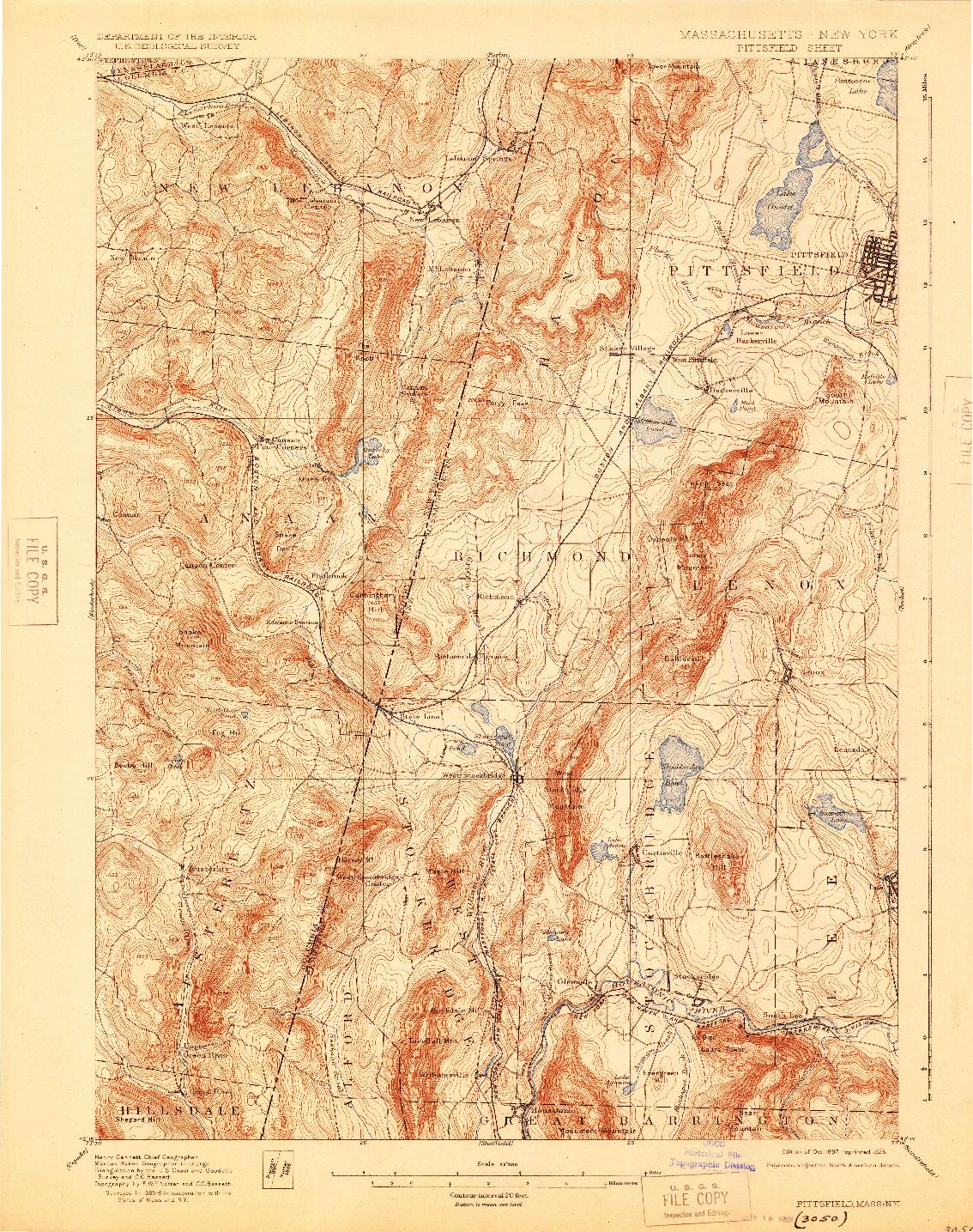 USGS 1:62500-SCALE QUADRANGLE FOR PITTSFIELD, MA 1897