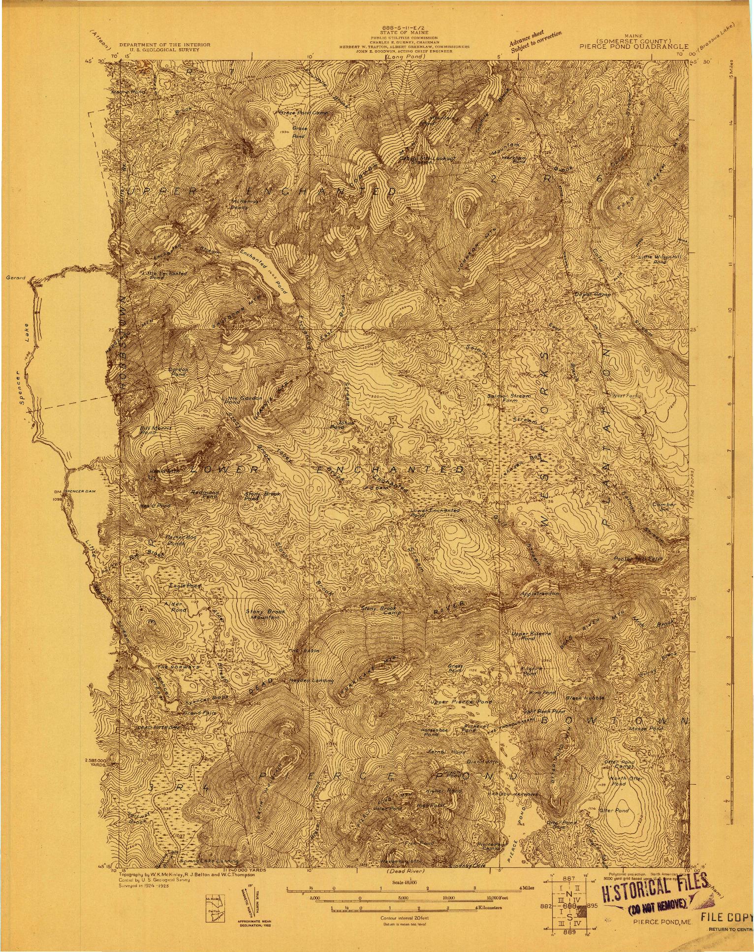 USGS 1:48000-SCALE QUADRANGLE FOR PIERCE POND, ME 1925