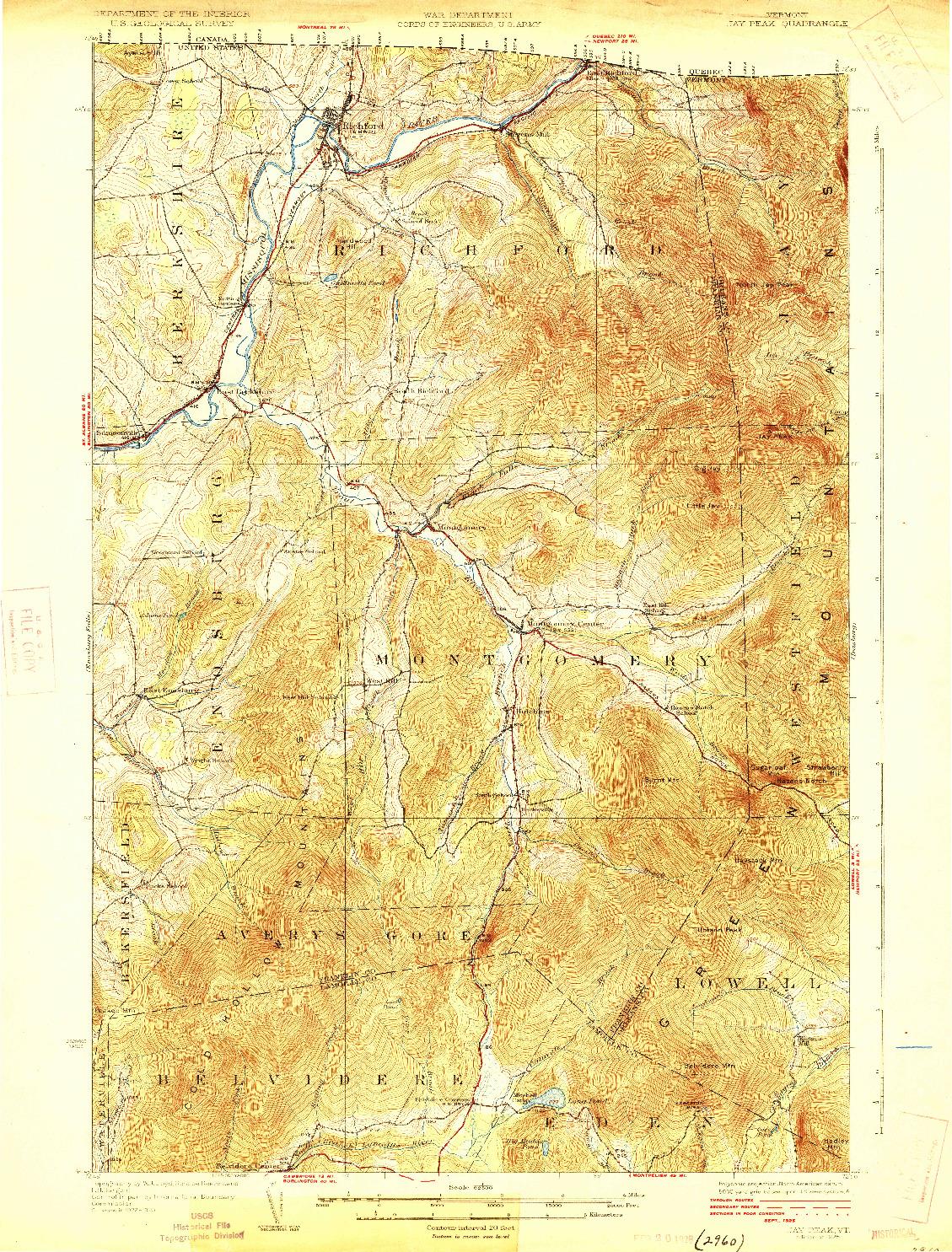 USGS 1:62500-SCALE QUADRANGLE FOR JAY PEAK, VT 1925