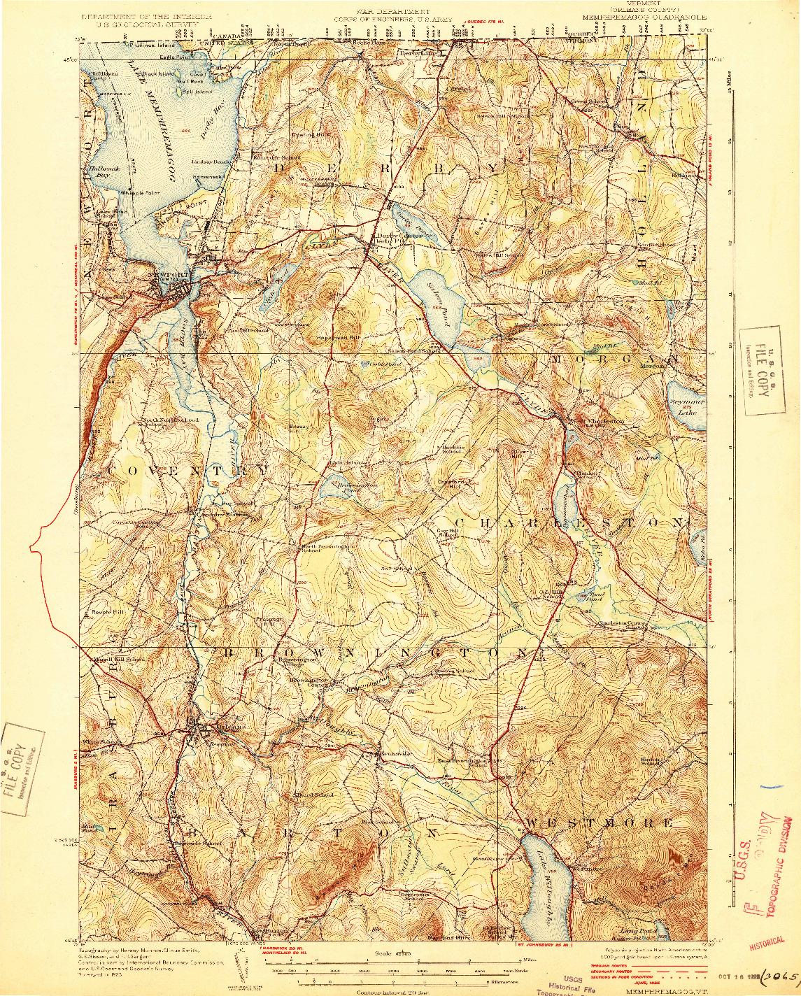 USGS 1:62500-SCALE QUADRANGLE FOR MEMPHREMAGOG, VT 1925