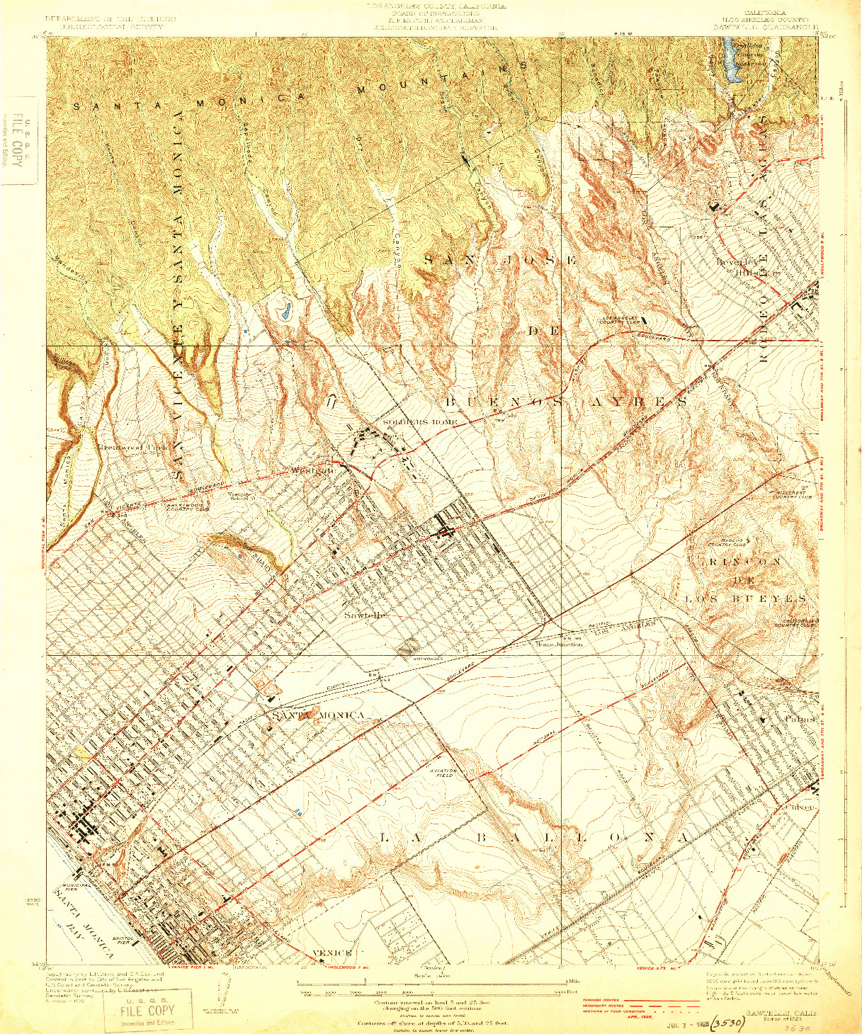USGS 1:24000-SCALE QUADRANGLE FOR SAWTELLE, CA 1925