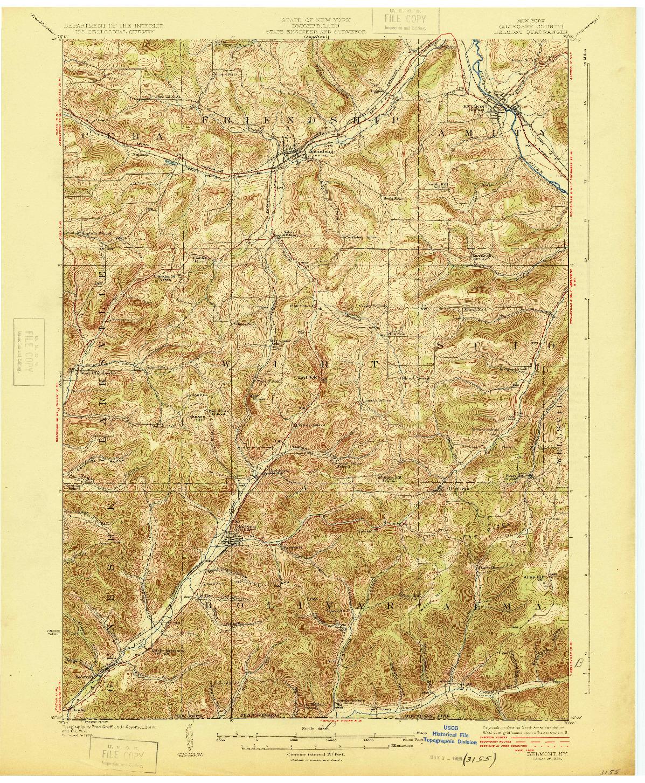 USGS 1:62500-SCALE QUADRANGLE FOR BELMONT, NY 1925