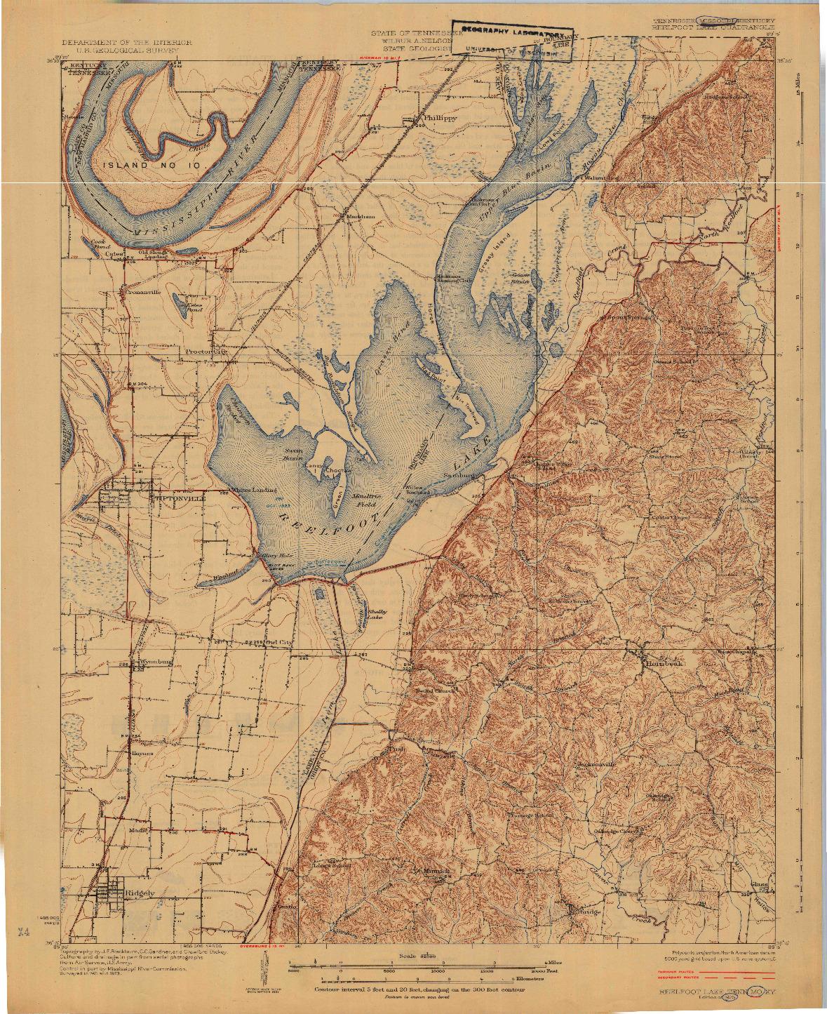 USGS 1:62500-SCALE QUADRANGLE FOR REELFOOT LAKE, TN 1925
