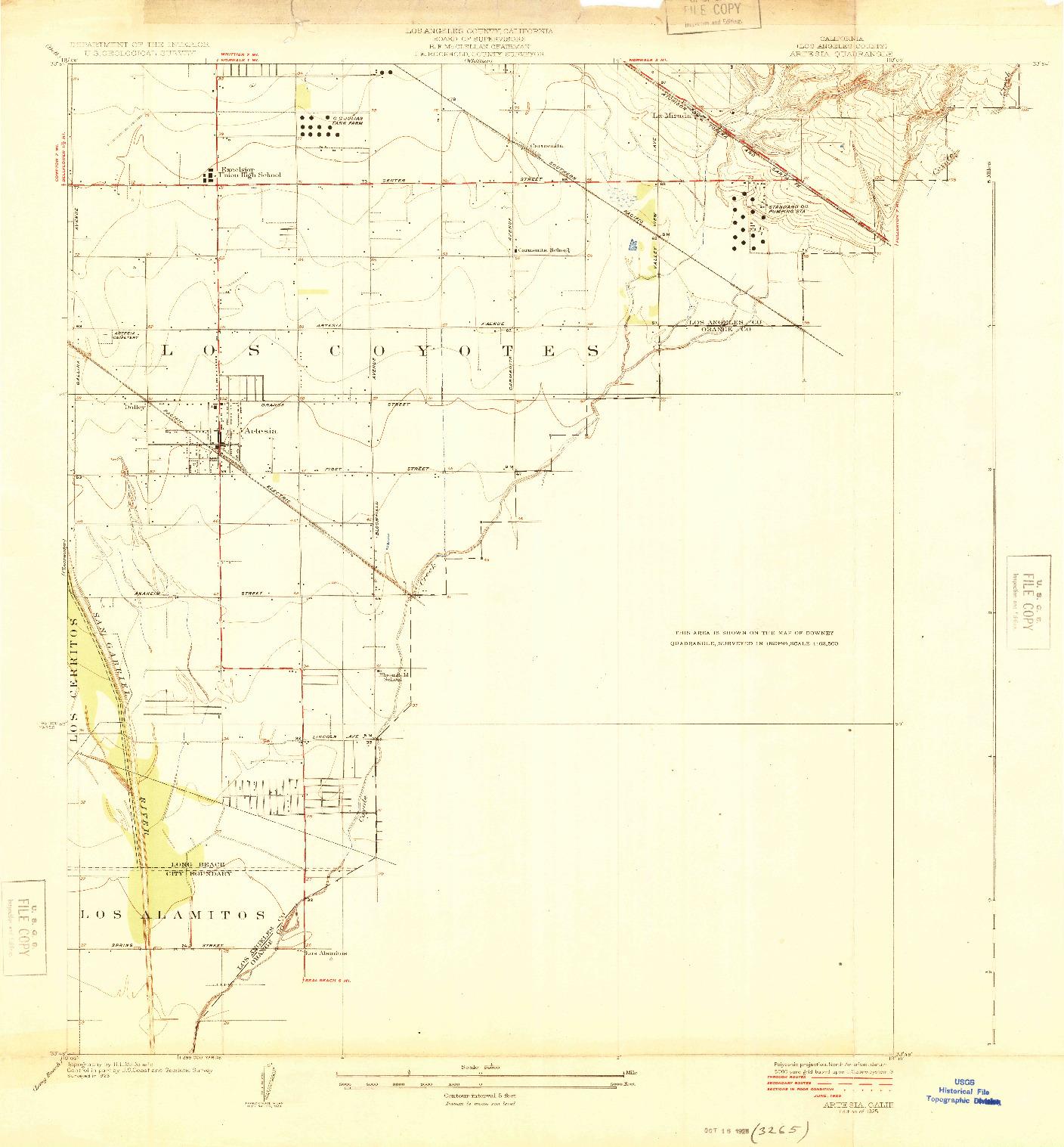USGS 1:24000-SCALE QUADRANGLE FOR ARTESIA, CA 1925
