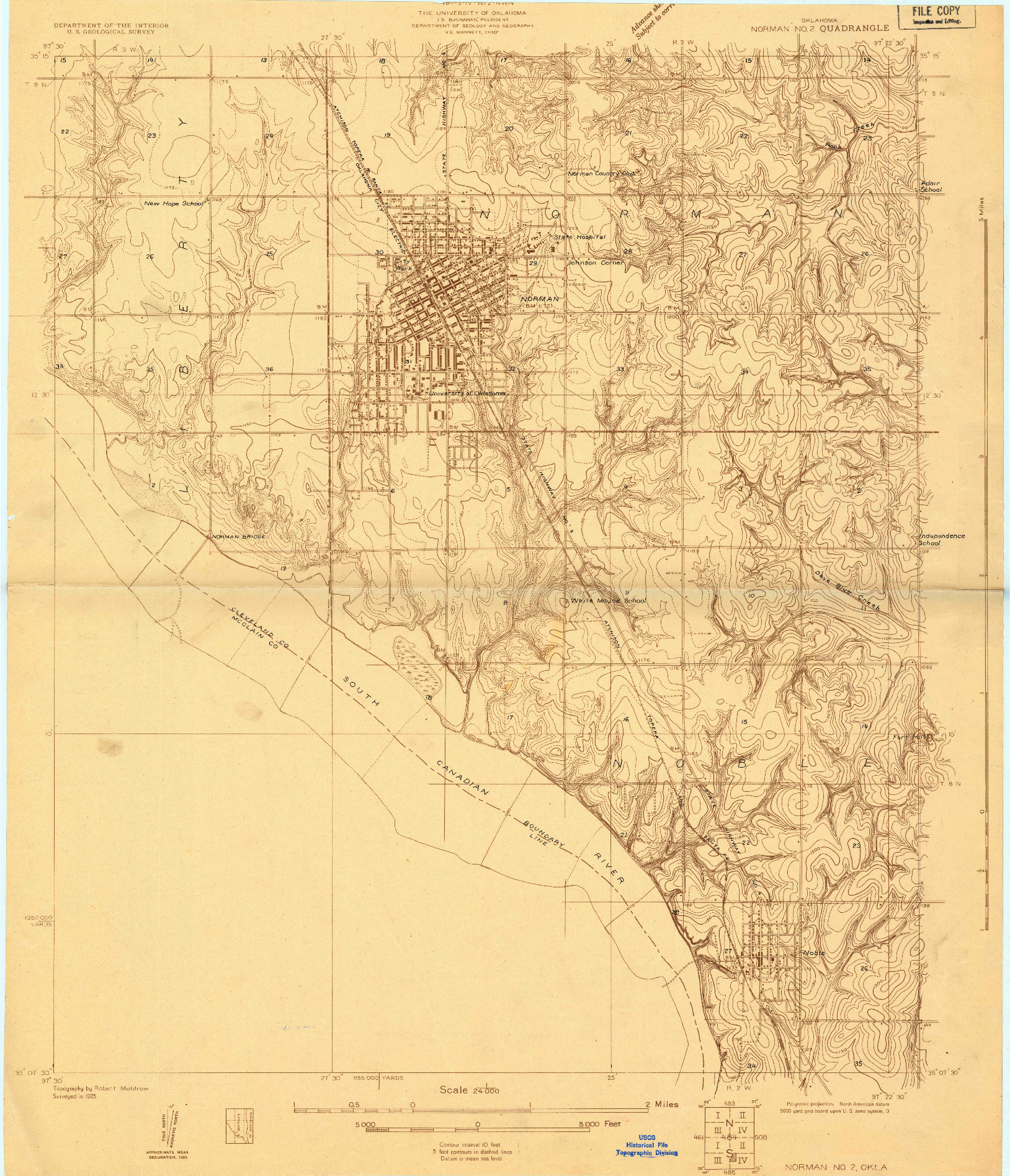 USGS 1:24000-SCALE QUADRANGLE FOR NORMAN NO 2, OK 1925