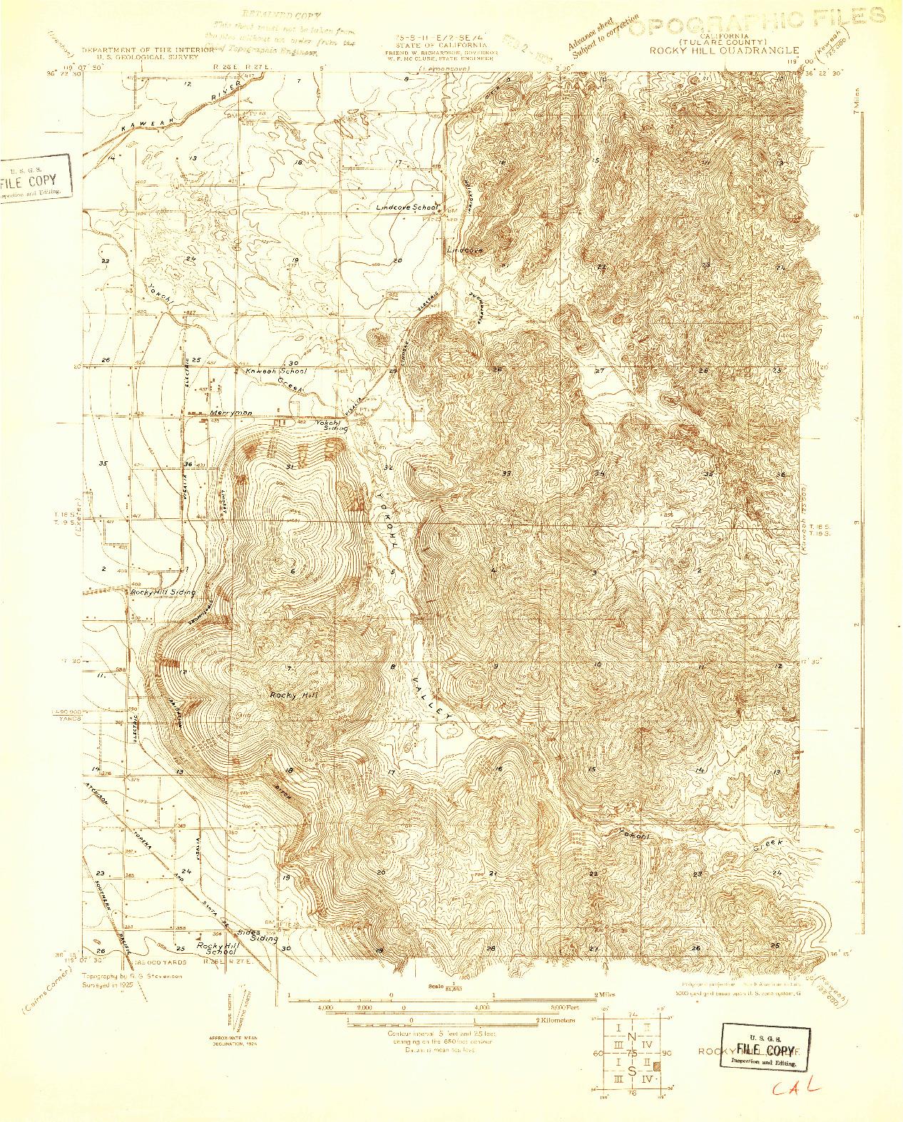 USGS 1:31680-SCALE QUADRANGLE FOR ROCKY HILL, CA 1925