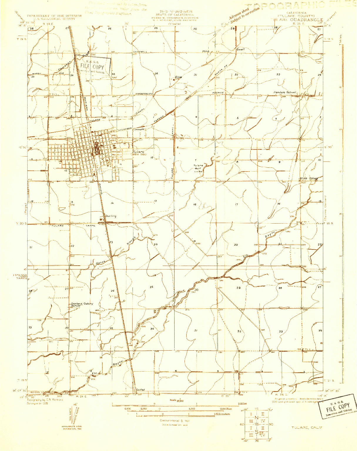 USGS 1:31680-SCALE QUADRANGLE FOR TULARE, CA 1925