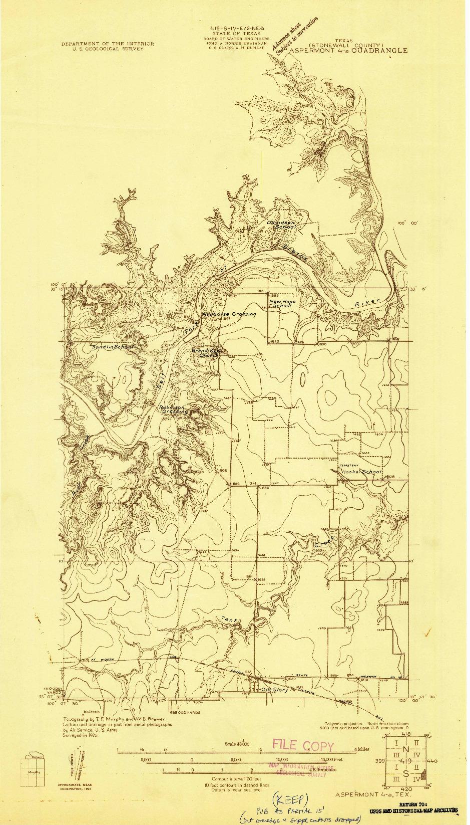 USGS 1:48000-SCALE QUADRANGLE FOR ASPERMONT 4-A, TX 1925