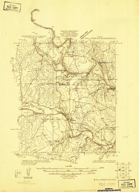 USGS 1:48000-SCALE QUADRANGLE FOR BALLINGER 3-D, TX 1925