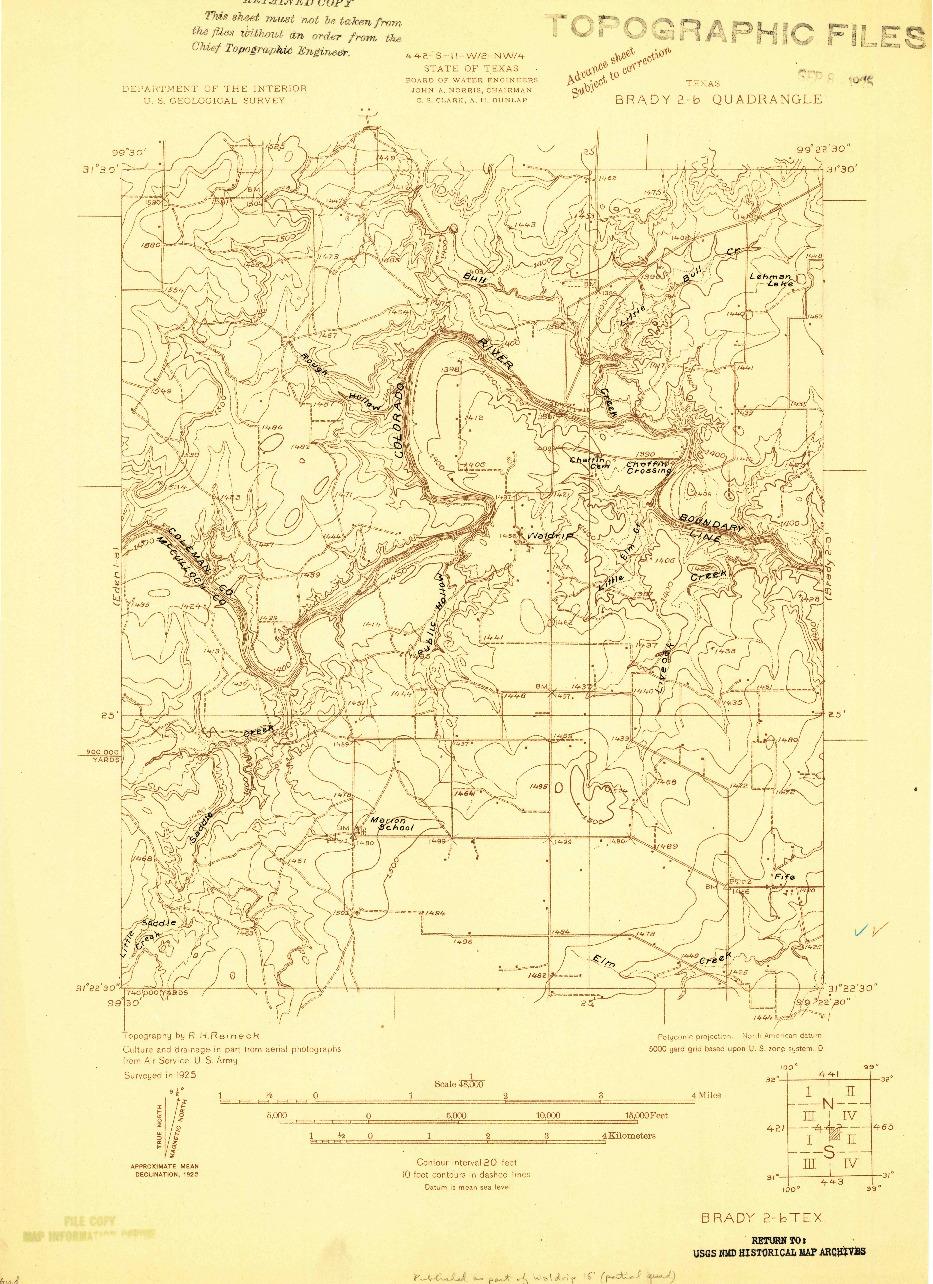 USGS 1:48000-SCALE QUADRANGLE FOR BRADY 2-B, TX 1925