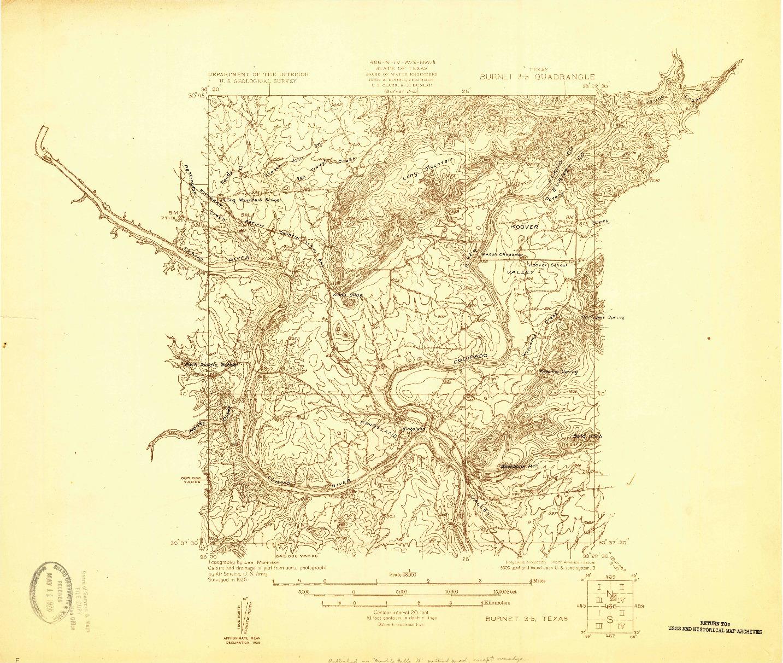 USGS 1:48000-SCALE QUADRANGLE FOR BURNET 3-B, TX 1925