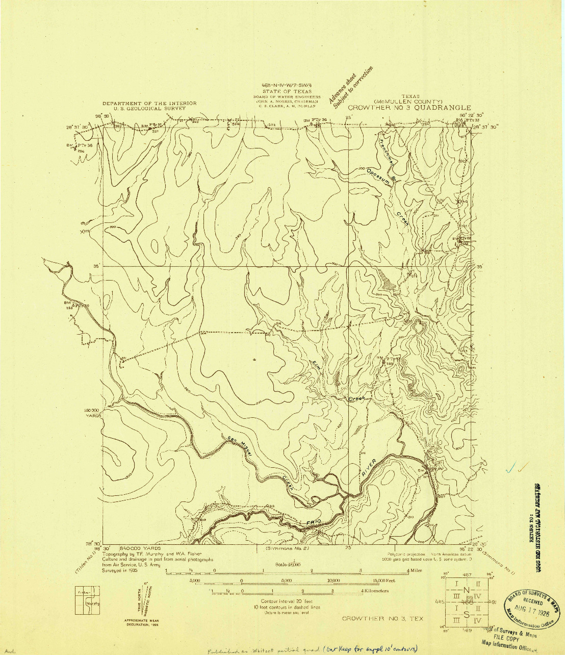 USGS 1:48000-SCALE QUADRANGLE FOR CROWTHER NO. 3, TX 1925