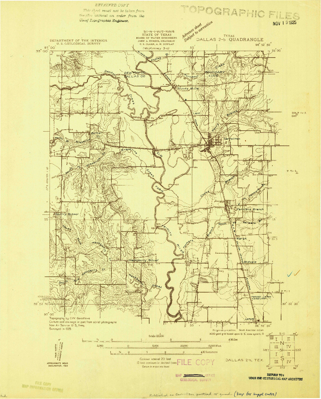USGS 1:48000-SCALE QUADRANGLE FOR DALLAS 2-B, TX 1925