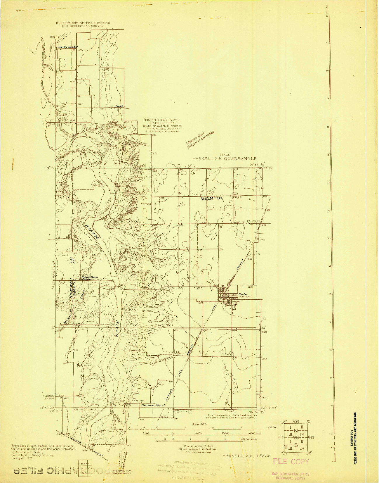 USGS 1:48000-SCALE QUADRANGLE FOR HASKELL 3-B, TX 1925