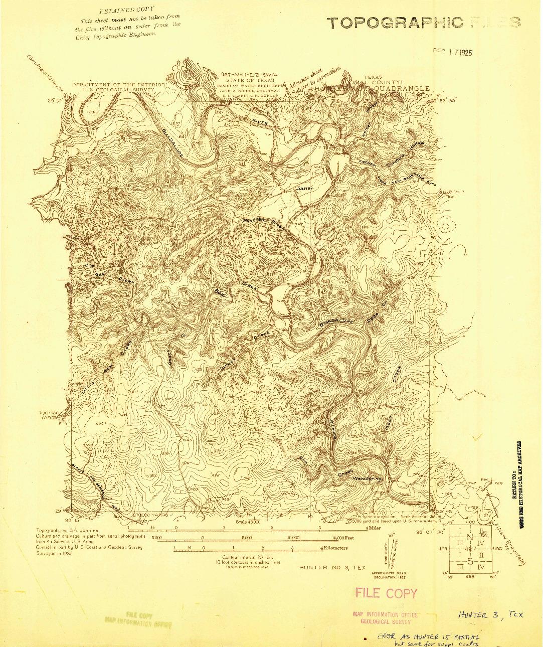USGS 1:48000-SCALE QUADRANGLE FOR HUNTER NO 3, TX 1925